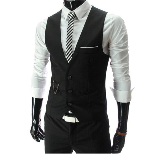 Dress Vests For Men - Slim Fit - Mens Suit Vest Male Waistcoat Gilet Homme - Casual Sleeveless Formal Business Jacket