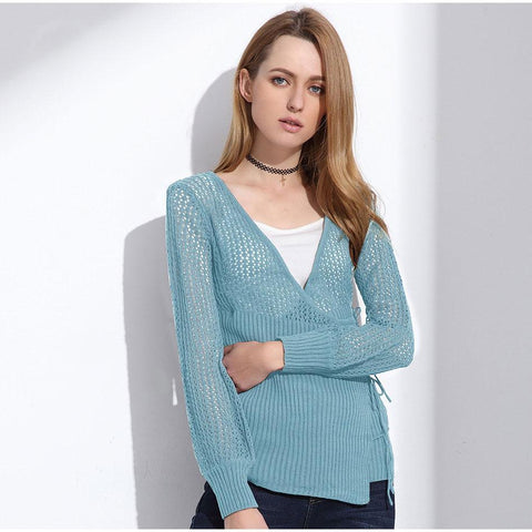 Female Hollow Out Cardigan - V Neck Long Sleeve Sweaters-DIGDU-DIGDU