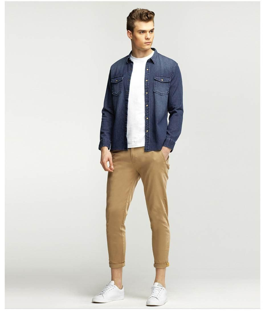 Giordano Men Pants Solid Ankle Fashion Chinos Trousers For Men Mal