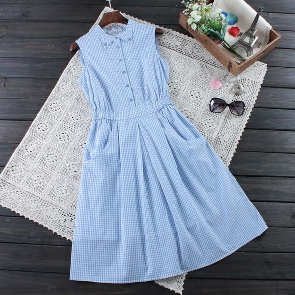 Japanese Summer Women'S Sweet Plaid Button Mid Calf Dress Slim Waist Sleeveless Plaid Female Vestido Dress Mori Girl Cute C112-DIGDU-DIGDU