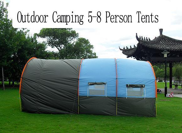 ... Large C&ing Tent Waterproof Canvas Fiberglass 5-8 People Family Tunnel 10 Person Tents Equipment ... & Large Camping Tent Waterproof Canvas Fiberglass 5-8 People Family Tunn