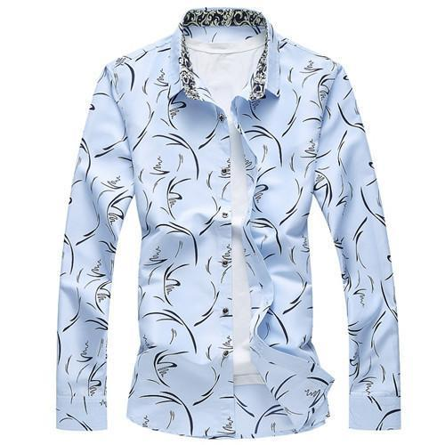 Men Clothes Slim Fit - Men Long Sleeve Shirt Men'S Plus Size - Casual Chemise-DIGDU-Sky blue-M-DIGDU