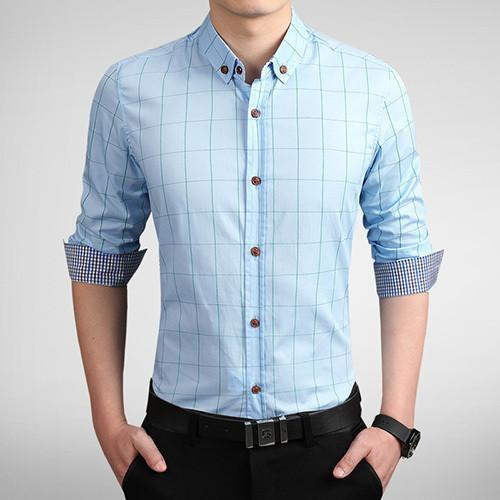 Men's Autumn Fashion Brand Slim Fit Shirt-DIGDU-Blue-Asian size M-DIGDU