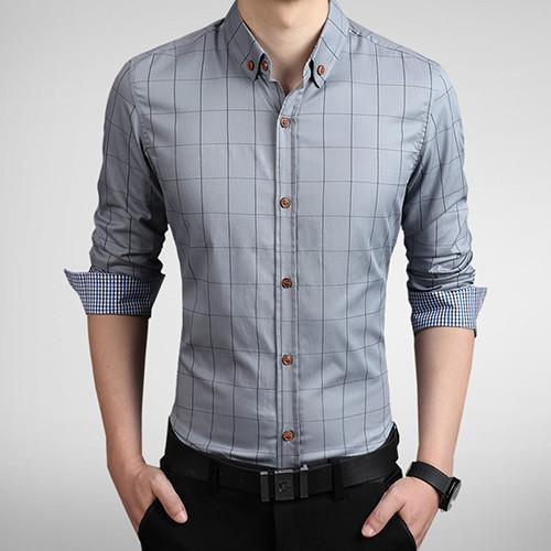 Men's Autumn Fashion Brand Slim Fit Shirt-DIGDU-Gray-Asian size M-DIGDU