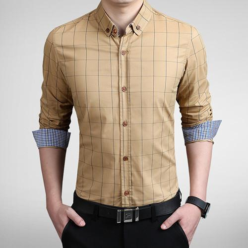 Men's Autumn Fashion Brand Slim Fit Shirt-DIGDU-Khaki-Asian size M-DIGDU