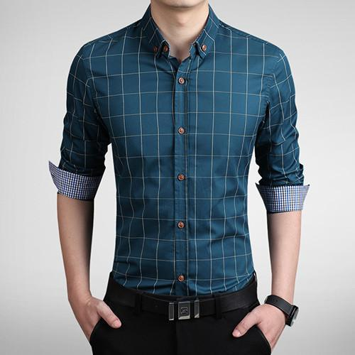 Men's Autumn Fashion Brand Slim Fit Shirt-DIGDU-Lake Blue-Asian size M-DIGDU