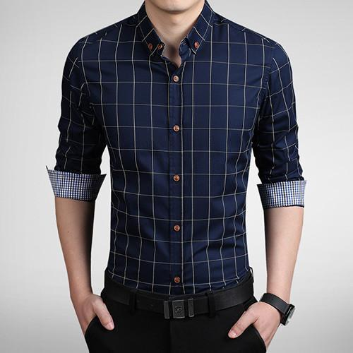 Men's Autumn Fashion Brand Slim Fit Shirt-DIGDU-Navy-Asian size M-DIGDU