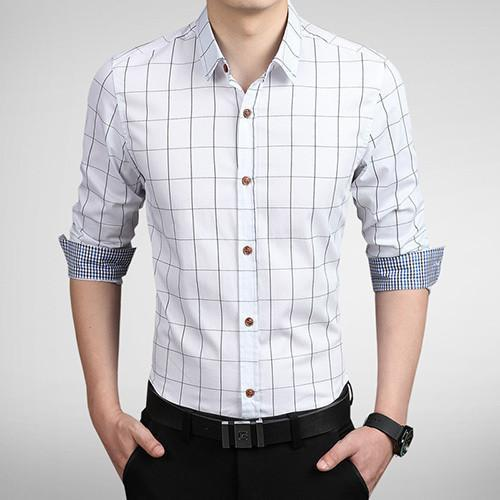 Men's Autumn Fashion Brand Slim Fit Shirt-DIGDU-White-Asian size M-DIGDU
