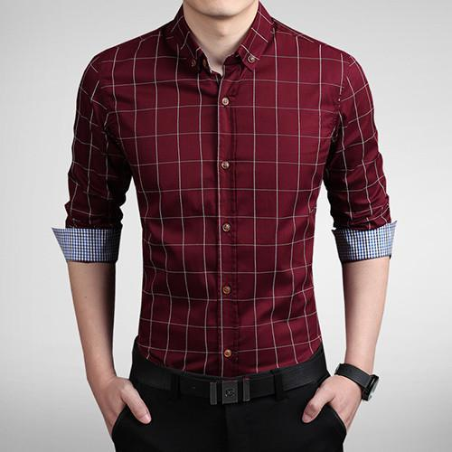 Men's Autumn Fashion Brand Slim Fit Shirt-DIGDU-Wine Red-Asian size M-DIGDU