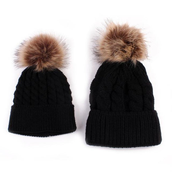 Mother-Baby Autumn/Winter Warm Cap - Europe Fashion - Cute Parent-Child Models Hats - Big Hairball Girls Wool Cap 5 Colors-DIGDU-black-DIGDU