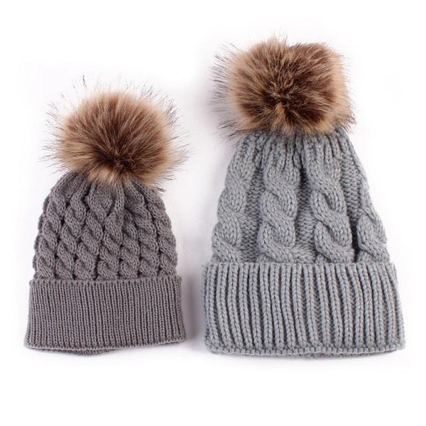 Mother-Baby Autumn/Winter Warm Cap - Europe Fashion - Cute Parent-Child Models Hats - Big Hairball Girls Wool Cap 5 Colors-DIGDU-gray-DIGDU