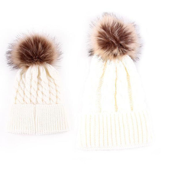 Mother-Baby Autumn/Winter Warm Cap - Europe Fashion - Cute Parent-Child Models Hats - Big Hairball Girls Wool Cap 5 Colors-DIGDU-white-DIGDU