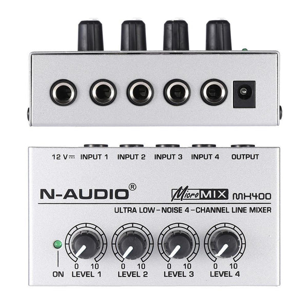 Mx400 Ultra-Compact Low Noise 4 Channels Line Mono Audio Mixer With Power Adapter-DIGDU-DIGDU