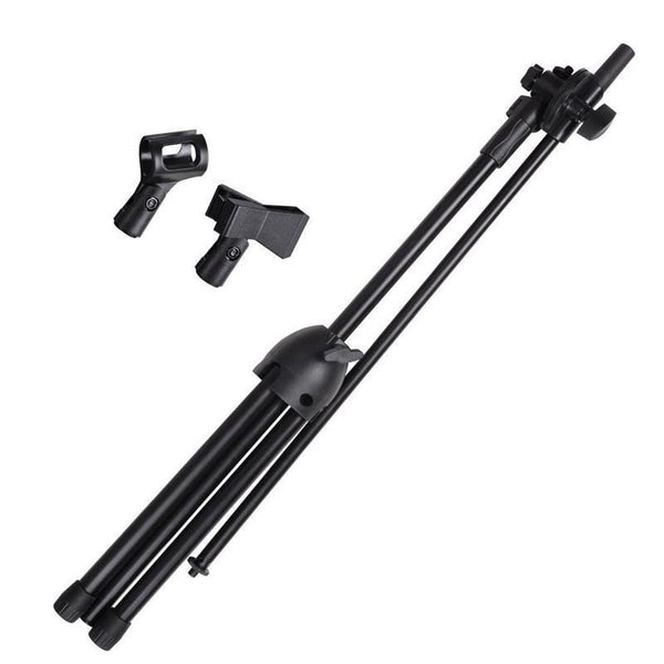 Nb-107 Professional Dual Microphone Metal Stand Tripod Adjustable Double-Headed Clip Microphone Holder Telescopic Boom Support-DIGDU-DIGDU