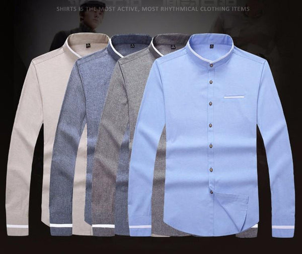 Plus Size 5Xl Brand Men Dress Shirts Autumn Long-Sleeve Busines Shirt Stand Collar Slim Fit Chemise Homme Camisa Masculina Mc278-DIGDU-DIGDU