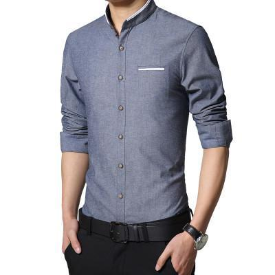 Plus Size 5Xl Brand Men Dress Shirts Autumn Long-Sleeve Busines Shirt Stand Collar Slim Fit Chemise Homme Camisa Masculina Mc278-DIGDU-cowboy blue-Asian size M-DIGDU