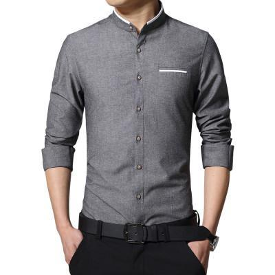 Plus Size 5Xl Brand Men Dress Shirts Autumn Long-Sleeve Busines Shirt Stand Collar Slim Fit Chemise Homme Camisa Masculina Mc278-DIGDU-Gray-Asian size M-DIGDU