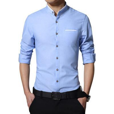 Plus Size 5Xl Brand Men Dress Shirts Autumn Long-Sleeve Busines Shirt Stand Collar Slim Fit Chemise Homme Camisa Masculina Mc278-DIGDU-Sky Blue-Asian size M-DIGDU