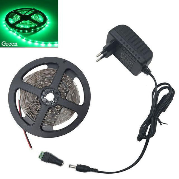 Rgb/White/Warm White/Bule/Red/Green/Yellow 5M Smd 3528 Led Strip Light Diode Tape 300Leds Non Waterproof + Dc 12V 2A Power Adapter-DIGDU-Green-DIGDU
