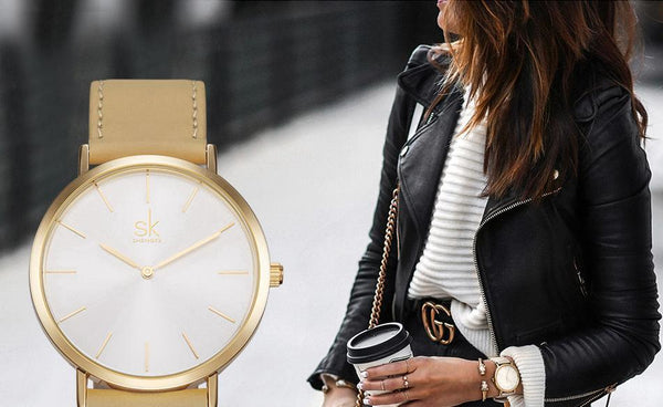 Shengke - Luxury Brand Quartz Watch - Women Casual Leather Watches-DIGDU-DIGDU