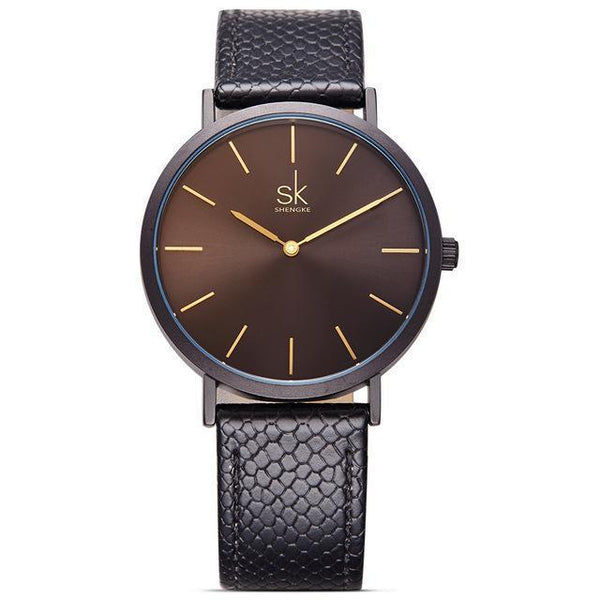 Shengke - Luxury Brand Quartz Watch - Women Casual Leather Watches-DIGDU-Blackblack-DIGDU
