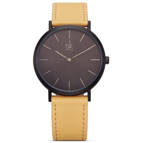 Shengke - Luxury Brand Quartz Watch - Women Casual Leather Watches-DIGDU-Blackbrown-DIGDU