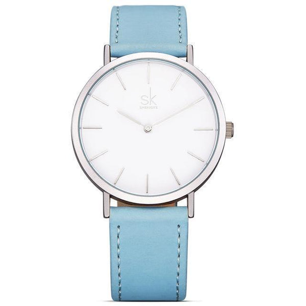 Shengke - Luxury Brand Quartz Watch - Women Casual Leather Watches-DIGDU-Whiteblue-DIGDU