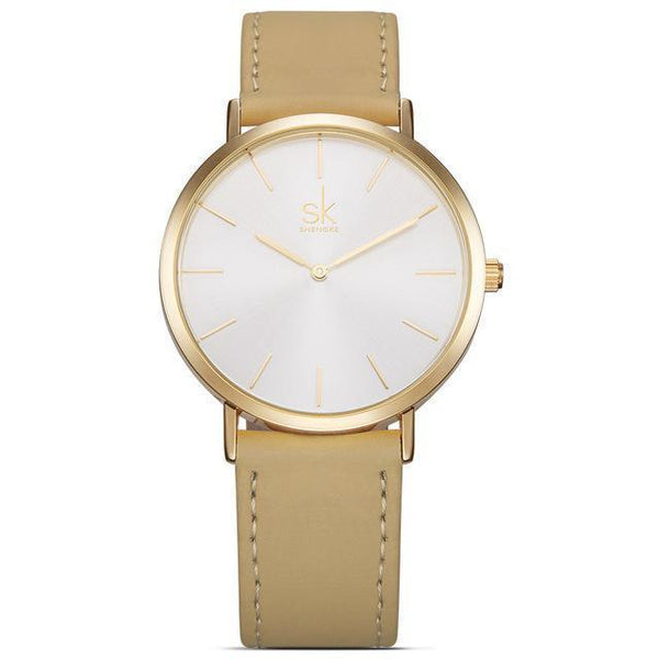 Shengke - Luxury Brand Quartz Watch - Women Casual Leather Watches-DIGDU-Whitebrown-DIGDU
