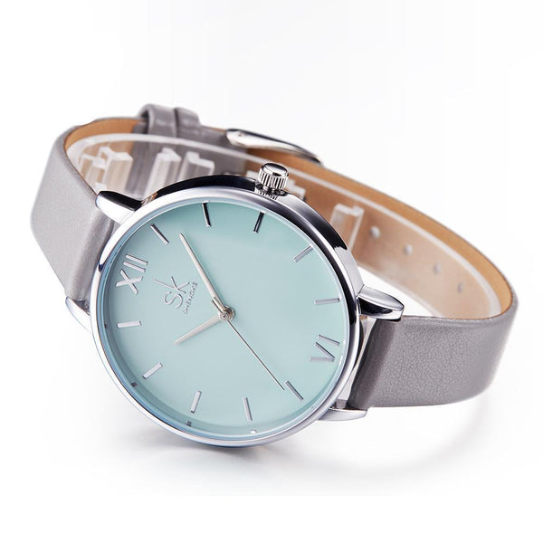 Shengke Watches - New Elegant - Leather Strap Ultra Slim Wrist Watch For Women-DIGDU-DIGDU