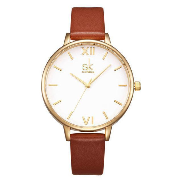 Shengke Watches - New Elegant - Leather Strap Ultra Slim Wrist Watch For Women-DIGDU-Brown-DIGDU