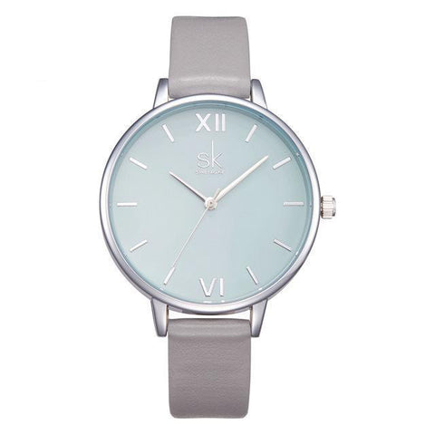 Shengke Watches - New Elegant - Leather Strap Ultra Slim Wrist Watch For Women-DIGDU-Grey-DIGDU