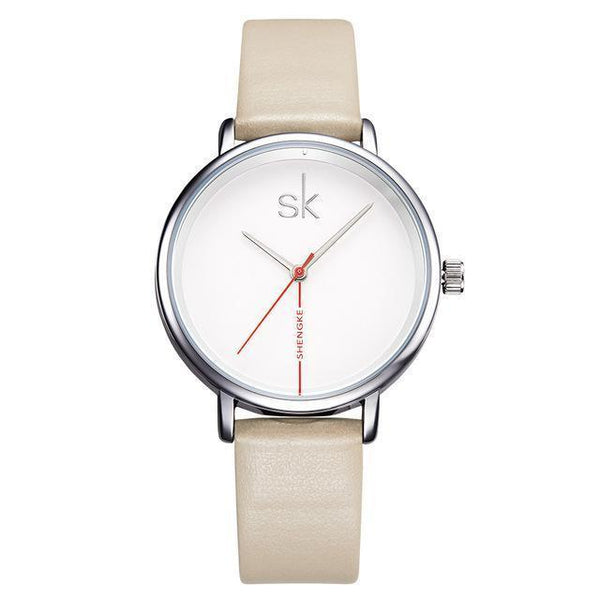 Shengke Women Watch - Business Watch Women - Leather-DIGDU-Khaki-DIGDU