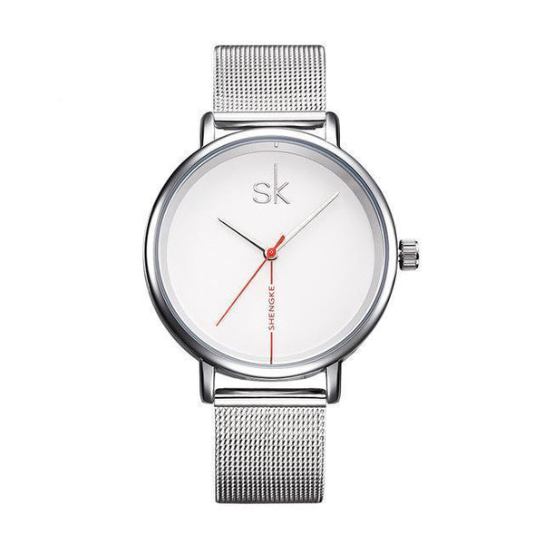 Shengke Women Watch - Business Watch Women - Leather-DIGDU-Sliver-DIGDU