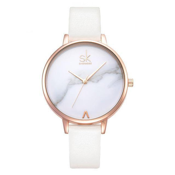 Shengke Women Watches Luxury Brand Wristwatch - Geneva Quartz Clock-DIGDU-White-DIGDU