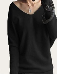 Spring/Autumn - Sweaters Women - Fashion Sexy V-Neck Sweater - Loose 100% Wool Sweater - Batwing Sleeve Plus Size Pullover