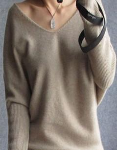 Spring/Autumn - Sweaters women - Fashion sexy v-neck sweater - Loose 100% Wool Sweater - Batwing Sleeve Plus size Pullover-DIGDU-khaki-S-DIGDU