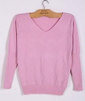 Spring/Autumn - Sweaters women - Fashion sexy v-neck sweater - Loose 100% Wool Sweater - Batwing Sleeve Plus size Pullover-DIGDU-pink-S-DIGDU