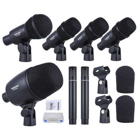 Wired Microphone With Standard Mounting Thread Carry Case 1 Big Drum Microphone 4 Small Drum Microphones 2 Condenser Microphones-DIGDU-DIGDU