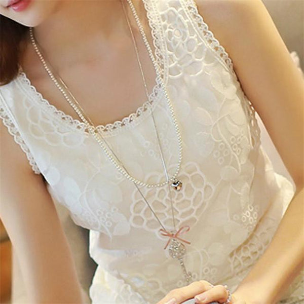 Women Blouse Shirt - Lace Elegant Sleeveless - Casual Shirts-DIGDU-02-S-DIGDU