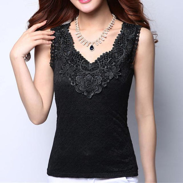 Women Blouse Shirt - Lace Elegant Sleeveless - Casual Shirts-DIGDU-12 Black-S-DIGDU
