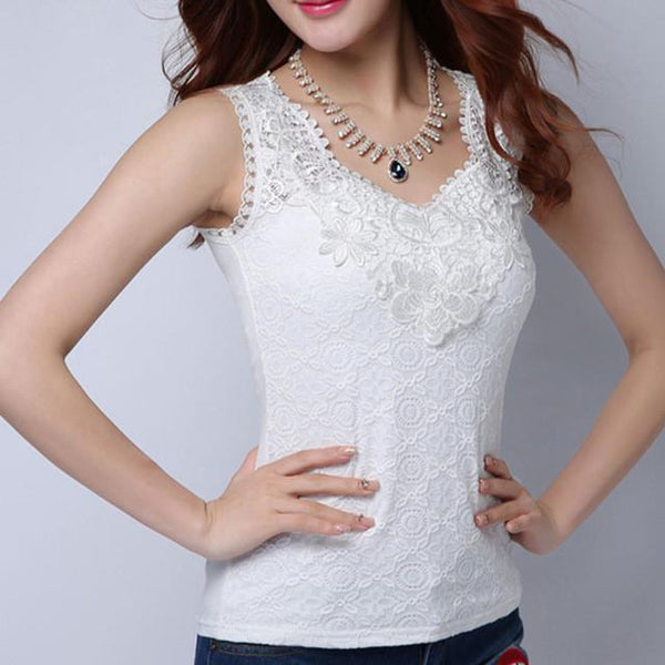 Women Blouse Shirt - Lace Elegant Sleeveless - Casual Shirts-DIGDU-12 White-S-DIGDU