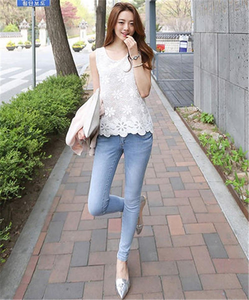 Women Blouse Shirt - Lace Elegant Sleeveless - Casual Shirts-DIGDU-DIGDU