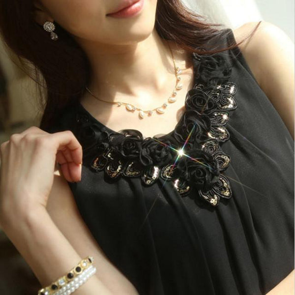Women Blouse Shirt - Lace Elegant Sleeveless - Casual Shirts-DIGDU-82 Black-S-DIGDU