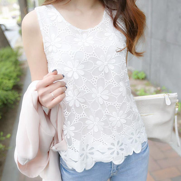 Women Blouse Shirt - Lace Elegant Sleeveless - Casual Shirts