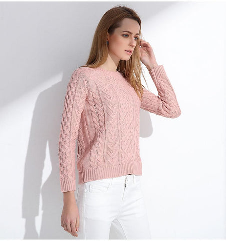 7f1aeceabbbcf Women Retro Pullover - Pink Sweater - Long Sleeve Sweaters