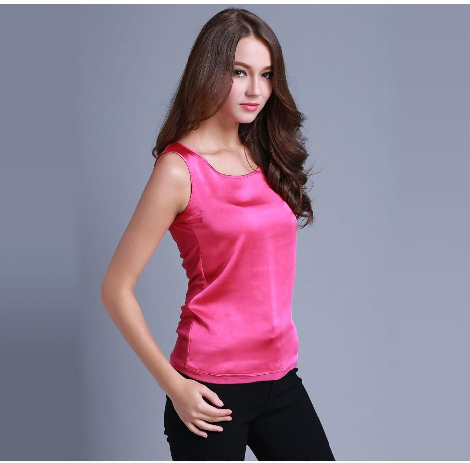 07a6efaa52196 ... Red-L · Womens Summer Silk Tank Tops - Sleeveless Solid Color-DIGDU- DIGDU ...