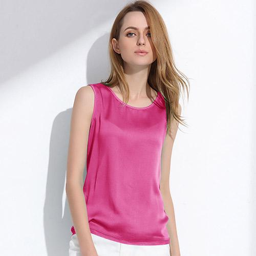 Womens Summer Silk Tank Tops - Sleeveless Solid Color-DIGDU-Rosy Red-L-DIGDU