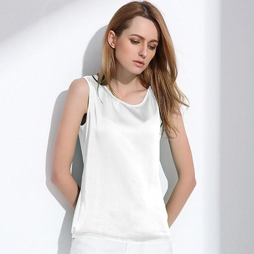 Womens Summer Silk Tank Tops - Sleeveless Solid Color-DIGDU-White-L-DIGDU