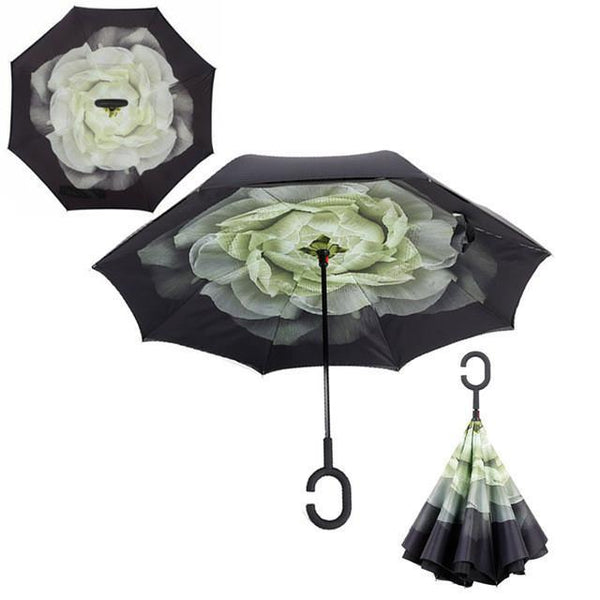 Yesello 1Pcs Gardenia Folding Double Layer Inverted Umbrella Self Stand Inside Out Rain Protection Long C-Hook Hands For Car