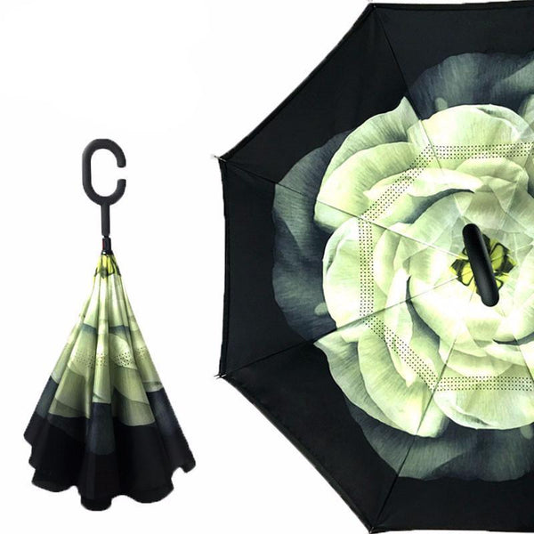 Yesello 1Pcs Gardenia Folding Double Layer Inverted Umbrella Self Stand Inside Out Rain Protection Long C-Hook Hands For Car-DIGDU-DIGDU